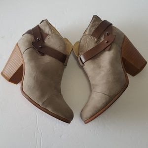 Rag and Bone Harrow Taupe Gray Suede Booties